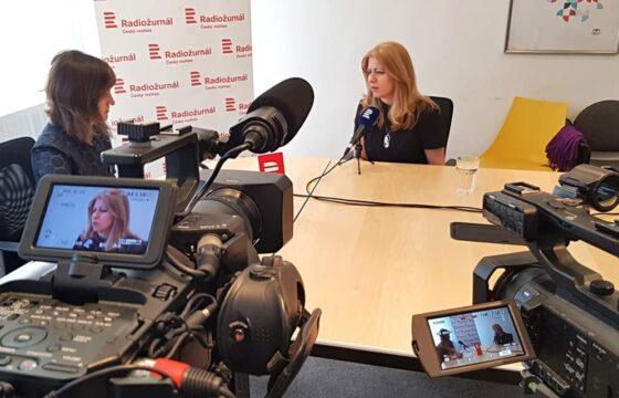 Natáčení rozhovoru s prezidentkou Slovenské republiky Zuzanou Čaputovou. | AVIDIS